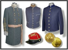 Confederate Army (C.S.) Civil War military uniforms from the quartermaster shop.