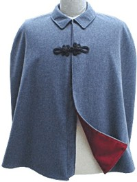 Confederate Officers Cape in cadet grey with crimson wool lining, American Civil War Military Uniforms