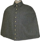 Confederate Officers Cape in medium grey with caprain's collar insignia, American Civil War Military uniform Clothing