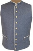 C.S. Civil War Military Vest - cadet grey with buff piping, American Civil War Uniforms