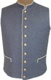 C.S. Civil War Military Standing Collar Vest - cadet grey with buff piping, American Civil War Uniforms