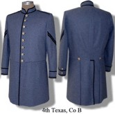 C.S. 4th Texas, Company B frock coat with Corporal chevrons.
