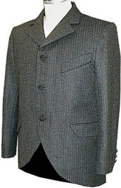 1890's Sack Coat in Charcoal Narrow Stripe, 19th Century (1800s) Men's Clothing
