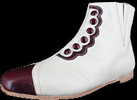 Ladies High-Top False Button-Up Shoes - Bone & Wine. Victorian & Civil War