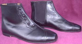 Ladies High-Top False Button-Up Shoes - Black. Victorian & Civil War