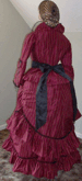 Ladies 1870s Day or Evening Bustle Dress of Silk Upholstery material, back view