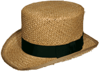 Low Topper in Straw,19th Century (1800s)  Men's Hat