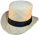 Derby - Flat Top - Straw, 19th Century (1800s) Men's Hat