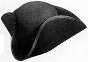 Ben Franklin tricorn, 18th and early 19th Century (1800s) men's hat