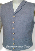C.S. Civil War Military Notched Collar Vest - cadet grey with buff piping, American Civil War Uniforms