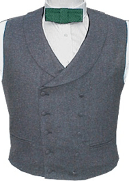 Civilain Double Breasted Shawl Collar Vest, 19th Century (1800s) Men's Clothing