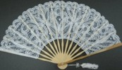 Ladies Hand Fan, White Lace with silver Thread in Natural Frame