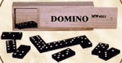 Wooden Dominos in wooden box
