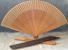 Ladies Hand Fan, Dark Wood with Silk
