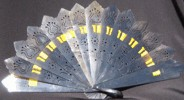 Ladies Hand Fan, Ox Horn with Ribbon. Yellow ribbon shown