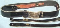 Cavalry Officer's Dress Sabre Belt, Regulation Black Enameled Leather
