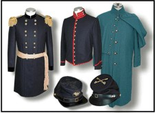 U.S. Civil War Union Army military uniforms from the quartermaster shop.